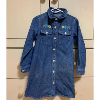 サンカンシオン(3can4on)の♡3can4on キッズ デニム シャツ ワンピース 110cm 女の子 刺繍♡(ワンピース)