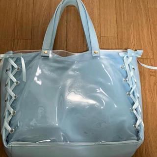 ウィゴー(WEGO)のWEGO レイヤードリボントートバッグ サックスブルー  Lサイズ 痛バ(トートバッグ)