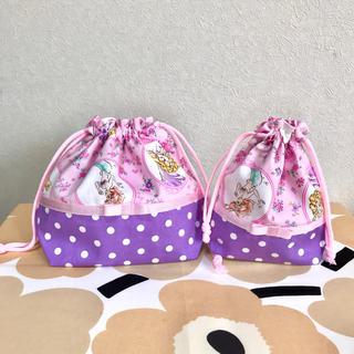 あゆみ様専用 【プリンセス×ドット紫 お弁当袋とコップ袋ランチョマット3点】(外出用品)