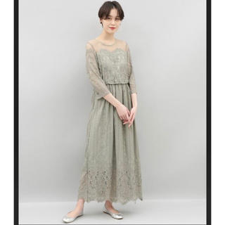 アダムエロぺ(Adam et Rope')のチュールパネルレースドレス(ロングドレス)