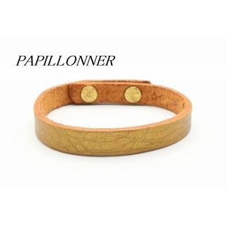 パピヨネ(PAPILLONNER)の【U813】PAPILLONNER パピヨネ レザー ブレスレット ゴールド(ブレスレット/バングル)