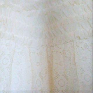 ベルメゾン(ベルメゾン)の美品★Mサイズ刺繍花柄レースワンピース花柄チュニック ミニワンピース白ワンピース(ミニドレス)