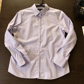 LANDS' END 優しいランベンダー色のチェックシャツ(シャツ/ブラウス(長袖/七分))