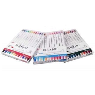 ミツビシエンピツ(三菱鉛筆)のゼブラ クリッカート 12色セット WYSS22-12C 3種1組 全36色 (ペン/マーカー)
