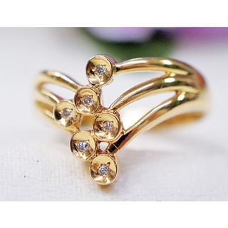 K18 ダイヤモンド 6ストーン リング 4.3g  サイズ「20」 (リング(指輪))