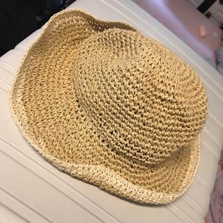 ディーホリック(dholic)の新品♡UVカット 折りたたみ可能 麦わら帽子 ライトベージュ(麦わら帽子/ストローハット)