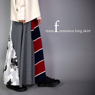 アンティカ(antiqua)のantiqua * 花柄×ボーダー柄切り替え変形スカート(ひざ丈スカート)