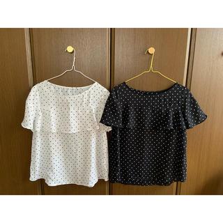 ジーユー(GU)のGU ドットフリルブラウス 2枚組(シャツ/ブラウス(半袖/袖なし))