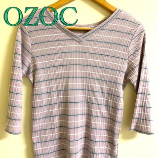 オゾック(OZOC)のOZOC オゾック ボーダー カットソー 七分袖 ピンク(Tシャツ(長袖/七分))