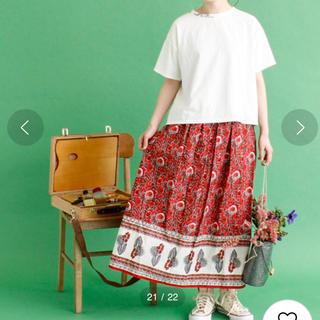 シャンブルドゥシャーム(chambre de charme)のcdc 木版プリント ギャザースカート(ロングスカート)