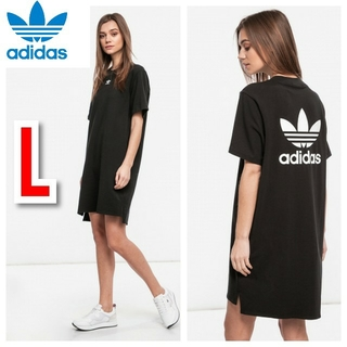 アディダス(adidas)のアディダスオリジナルス 半袖 ワンピース トレフォイル Tシャツ ブラック 黒(ひざ丈ワンピース)