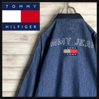 トミーヒルフィガー(TOMMY HILFIGER)の【最高デザイン】トミーヒルフィガー☆ワンポイントロゴ入り襟付きデニムジャケット(Gジャン/デニムジャケット)