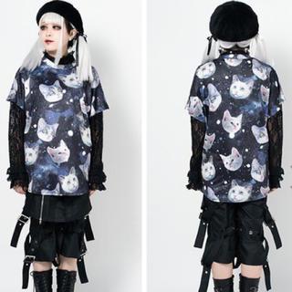 エーシーディーシーラグ(ACDC RAG)のACDC RAG  CAT 宇宙猫Tシャツ/ブラック(Tシャツ(半袖/袖なし))