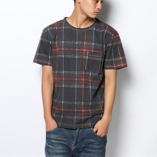 ウィゴー(WEGO)のLUCY 転写タータンチェックTシャツ S/S プリントTシャツ(Tシャツ/カットソー(半袖/袖なし))
