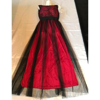 ◆新品タグ付き◆赤+黒立体刺繍/チュールロングドレス◆(ロングドレス)