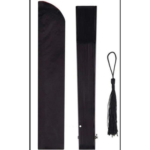 正絹(シルク)扇子 センス メンズ レディース 扇子入れ付き 短地扇子 黒 メンズの水着/浴衣(和装小物)の商品写真