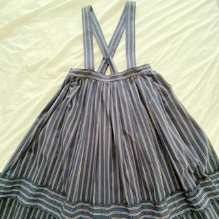 ジェーンマープル(JaneMarple)のコットンストライプ吊りスカート(ひざ丈スカート)