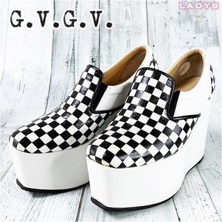 ジーヴィジーヴィ(G.V.G.V.)のG.V.G.V.  チェッカー レザー 厚底 スニーカー 23cm〜23.5cm(ローファー/革靴)