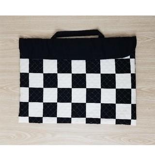 防災頭巾カバー 背もたれタイプ ハンドメイド 小学校 男の子用 白黒 チェック柄(外出用品)