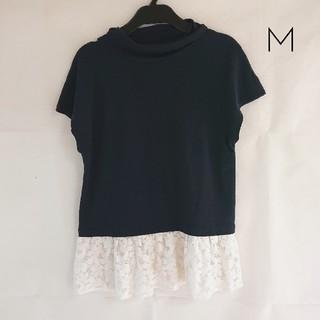 ミスティウーマン(mysty woman)のmysty woman*袖レース付きTシャツ*フレンチスリーブ*ハイネック(Tシャツ(半袖/袖なし))