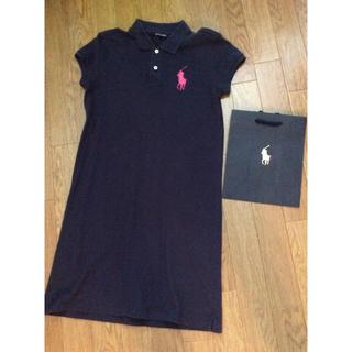 ラルフローレン(Ralph Lauren)のピンクbigポニー刺繍ラルフローレンシンプル紺ネイビーポロシャツワンピース160(ミニワンピース)