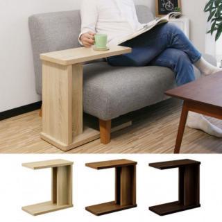 木目調 サイドテーブル サイドラック デスク(ローテーブル)