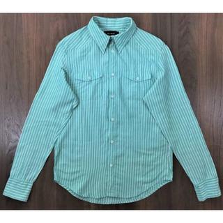 ダブル(DOWBL)のDOWBLダブルストライプシャツエメラルドグリーンサイズ44(シャツ)