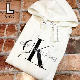 カルバンクライン(Calvin Klein)のCK カルバンクラインジーンズ スウェットパーカー ホワイト L(パーカー)
