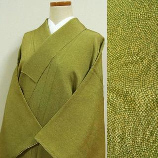緑色の縮緬に鮫小紋 江戸小紋調(着物)