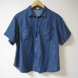ジーユー(GU)のGU ジーユー デニムビックスリーブシャツ デニムシャツ M (シャツ/ブラウス(半袖/袖なし))