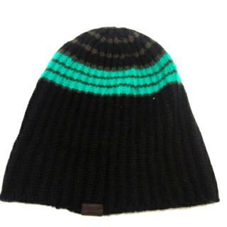 コーチ(COACH)のコーチ ニット帽美品  ボーダー ウール(ニット帽/ビーニー)