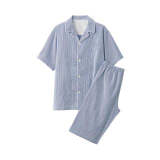 ムジルシリョウヒン(MUJI (無印良品))の無印良品脇に縫い目のない サッカー織り半袖パジャマ 紳士L・ブルー×チェック(その他)