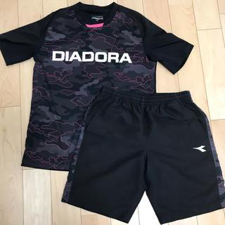 ディアドラ(DIADORA)の【最安値】DIADORA♡上下セット 半袖半ズボン 黒×ピンク×白 迷彩柄(ウェア)