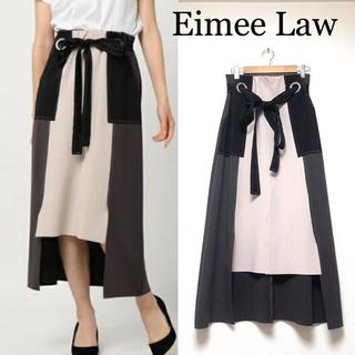 秋におすすめ♪ EimeeLaw前リボン配色ステッチタイトスカート エイミーロウ(ロングスカート)