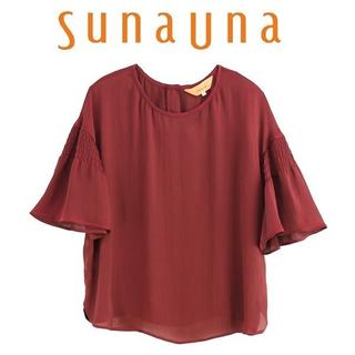 スーナウーナ(SunaUna)のL-新品 sunauna スーナウーナ サテン楊流ブラウス54589056(シャツ/ブラウス(半袖/袖なし))