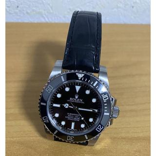 ロレックス(ROLEX)のハンドメイド 新品 時計ベルト ラグ幅20mmx16~9mm クロコダイルレザー(レザーベルト)