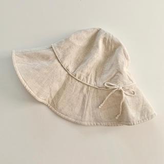 ムジルシリョウヒン(MUJI (無印良品))の美品 無印良品 無印 帽子 ハット リネン 麻 つば広 生成り キャペリン(ハット)