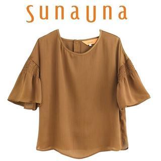スーナウーナ(SunaUna)のM-新品 sunauna スーナウーナ サテン楊流ブラウス54589056(シャツ/ブラウス(半袖/袖なし))