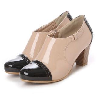 サヴァサヴァ(cavacava)のお値下新品レインブーツ  サヴァサヴァ ショート ブーティー ベージュ×ブラック(レインブーツ/長靴)