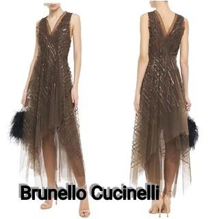 ブルネロクチネリ(BRUNELLO CUCINELLI)のBrunello Cucinelliスパンコール チュール ミディワンピース(ミディアムドレス)