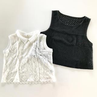 リップサービス(LIP SERVICE)の美品 レースノースリーブ2セット ブラック ホワイト(シャツ/ブラウス(半袖/袖なし))