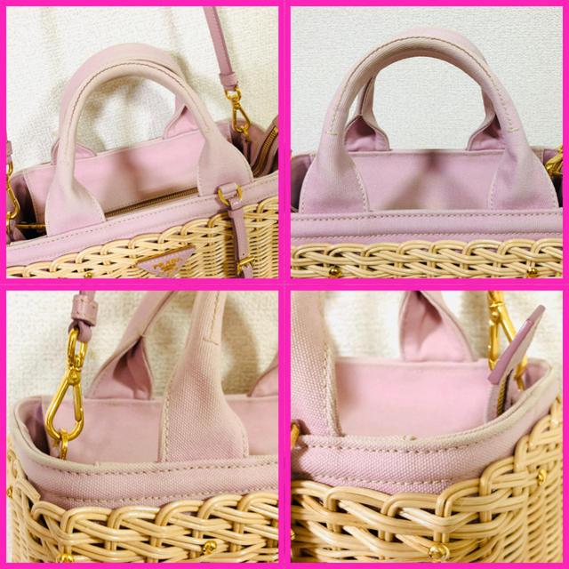 PRADA(プラダ)のPRADA プラダ✨ウィッカー×キャンバス✨2way  かごバッグ レディースのバッグ(かごバッグ/ストローバッグ)の商品写真