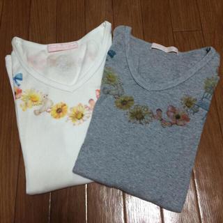 キノ(KINO)のkino Tシャツ 白 グレー フライス(Tシャツ(半袖/袖なし))