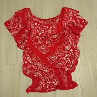 レピピアルマリオ(repipi armario)のレピピアルマリオ オフショル Tシャツ カットソー 赤 レッド M150160 (カットソー(半袖/袖なし))