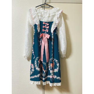 トゥアリス(To Alice)の鹿花畑ジャンパースカート+ブラウス+ヘドレカチューシャset(ひざ丈スカート)