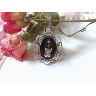 十字架くまちゃんリング黒♡ 地雷系 メン地下 量産型 ゴスロリ ジャニオタク(リング(指輪))