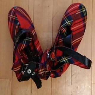 ジェーンマープル(JaneMarple)のロイヤルタータン バレリーナ靴 美品(バレエシューズ)