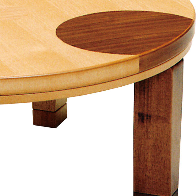 円形 おしゃれこたつ 象嵌入り インテリア/住まい/日用品の机/テーブル(こたつ)の商品写真
