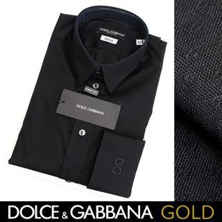 ドルチェアンドガッバーナ(DOLCE&GABBANA)のDOLCE&GABBANA ブラック ドレスシャツ GOLD-C size 38(シャツ)