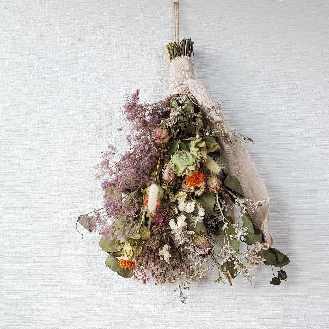 スモークツリーとユーカリと小花のボリュームスワッグ /切りっぱなしレース ハンドメイドのフラワー/ガーデン(ドライフラワー)の商品写真